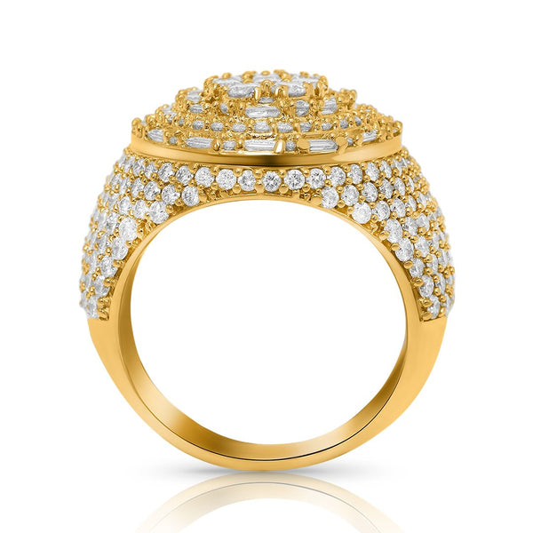 Diamond Oval Pinky Ring in 14k Yellow Gold 5.28 Ctw