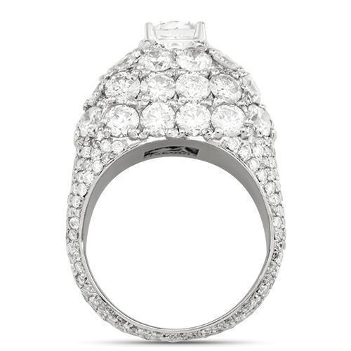 82d392b45666ab Diamond Pinky Ring with Cushion Cut Center Stone in 14k White Gold 6.45 Ctw