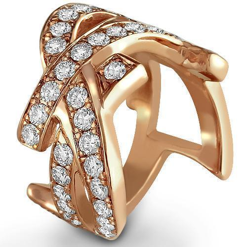 Diamond Right Hand Ring Unique 14K Rose Solid Gold 3.50 Ctw