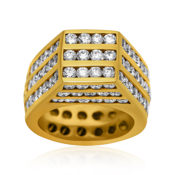 Diamond Tower Pinky Ring in 14k Yellow Gold 9 Ctw