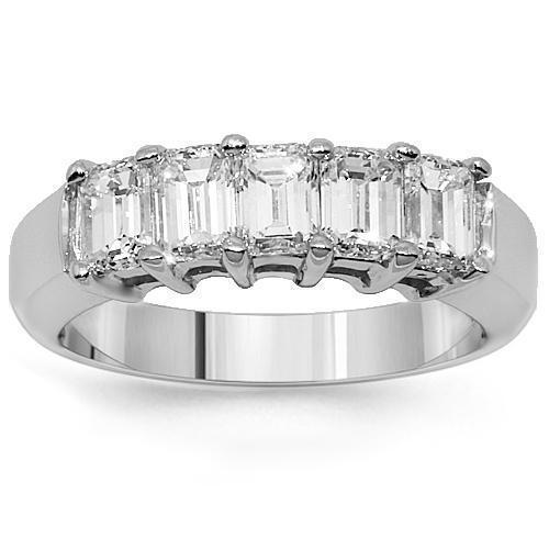 Emerald Cut Five Stone Diamond Anniversary Ring 1.50 Ctw in 14K White Gold