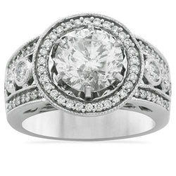 Five Diamond Stone Anniversary Ring in 14k White Gold 3.73 Ctw