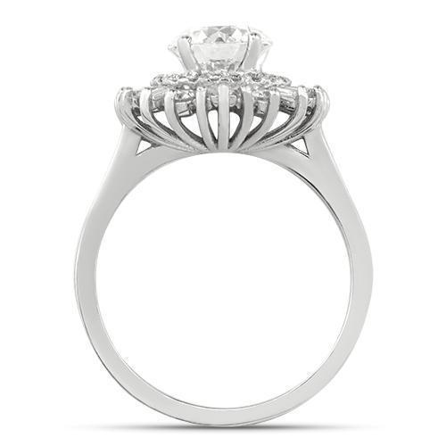 GIA Certified Diamond Cocktail Ring in 14k White Gold 2.02 Ctw