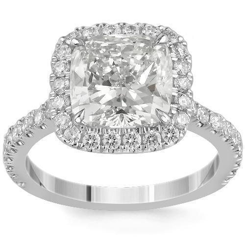Gorgeous 18K White Solid Gold Diamond Engagement Ring 3.82 Ctw