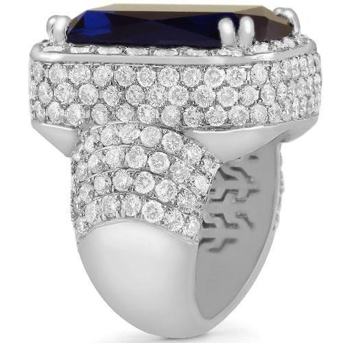 Large Diamond and Gold Men's  Blue Sapphire Ring 18 Ctw
