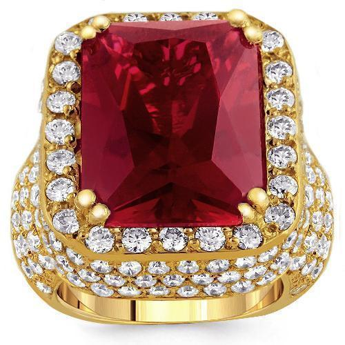 Large Diamond and Yellow Solid Gold Mens Ruby Ring 18 Ctw