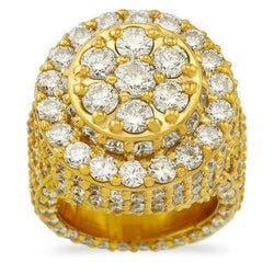 Large Mens Diamond Pinky Ring in 14k Yellow Gold 7.30 Ctw