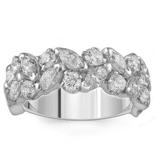 Marquise and Round Diamond Ring In 18K White Solid Gold 3.50 Ctw