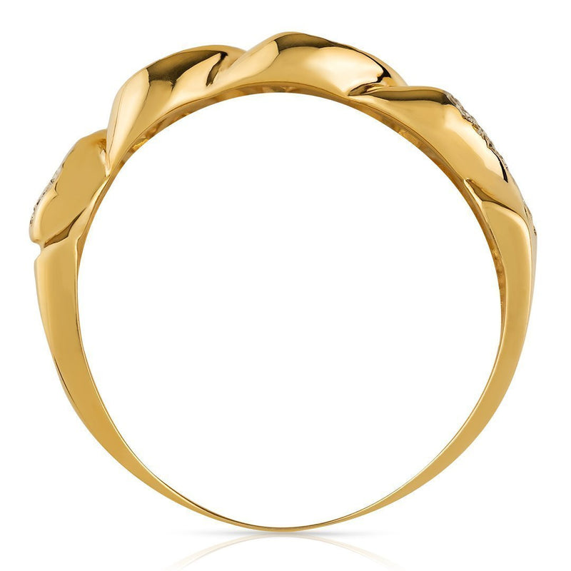 Mens Diamond Cuban Link Ring 14k Yellow Gold 0.75 Ctw