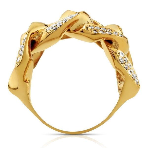 Mens Diamond Cuban Link Ring 14k Yellow Gold 1 Ctw