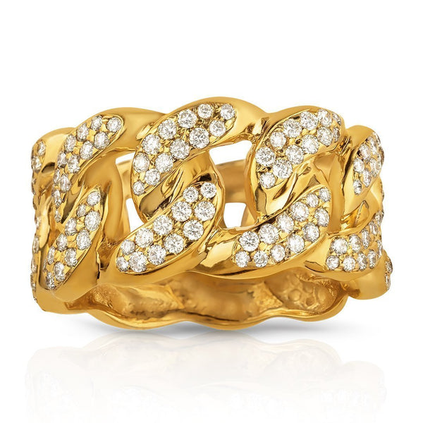 Mens Diamond Cuban Link Ring 14k Yellow Gold 2 Ctw