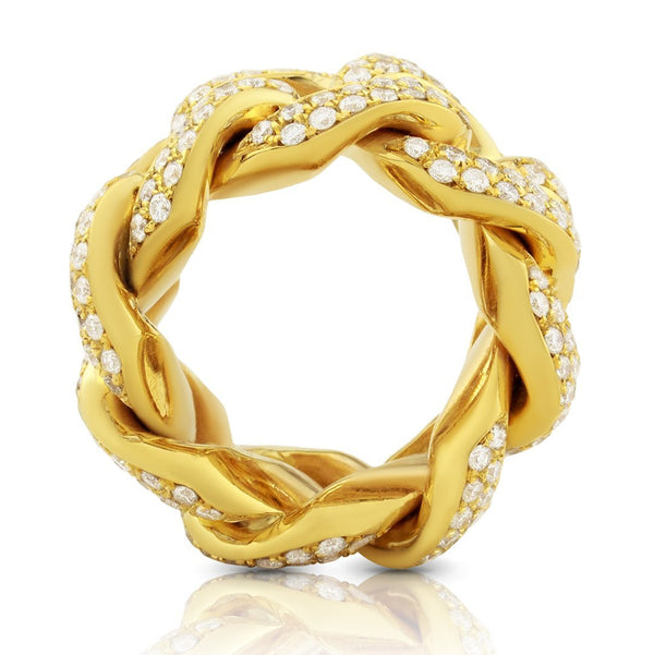 Mens Diamond Cuban Link Ring 14k Yellow Gold 6.50 Ctw