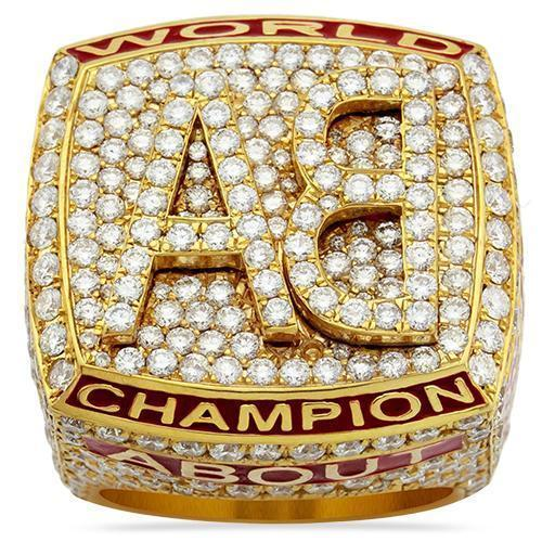 "Mens Diamond Custom ""AB"" Championship Ring 14k Yellow Gold 6 Ctw"