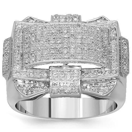 Mens Diamond Ring in 10K White Solid Gold 0.63 Ctw