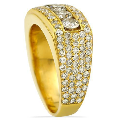 Mens Five Stone Diamond Ring in 14k Yellow Gold 3.70 Ctw