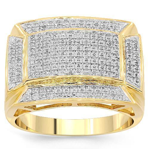 Mens Pave Diamond Ring in 10K Yellow Solid Gold 0.52 Ctw