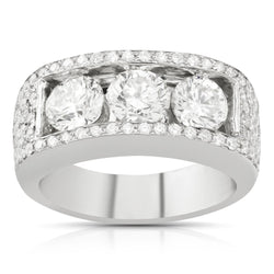 Mens Three Stone Diamond Ring in 14k White Gold 4.18 Ctw