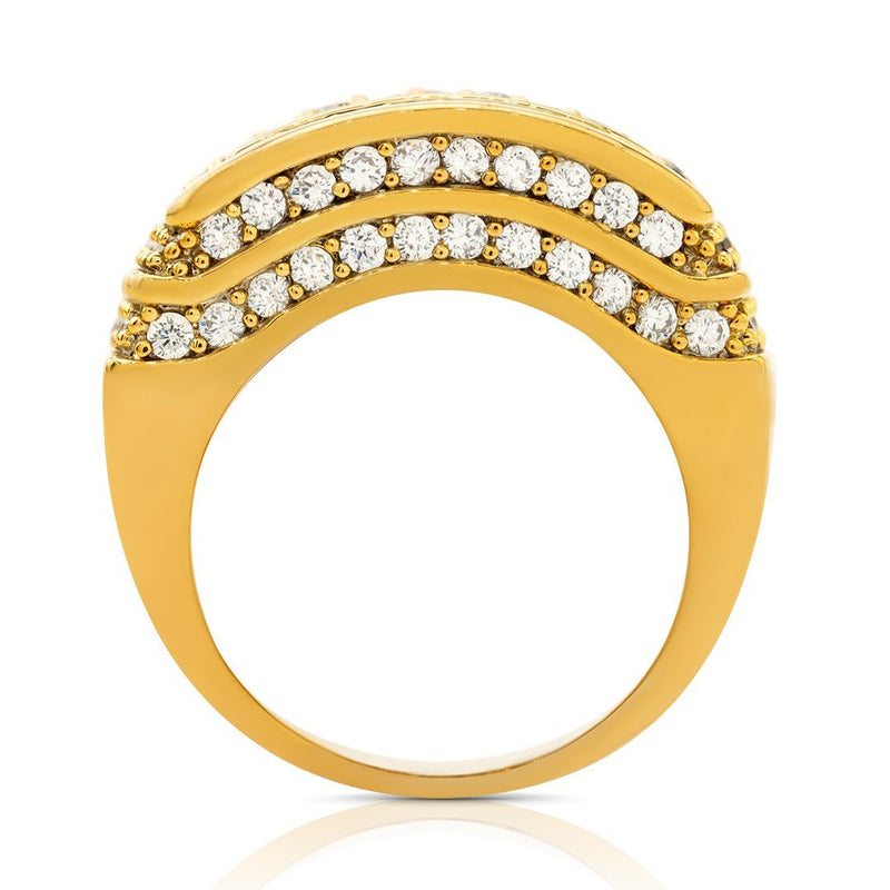 Multi Level Prong Set Mens Diamond Ring in 14k Yellow Gold 3 Ctw