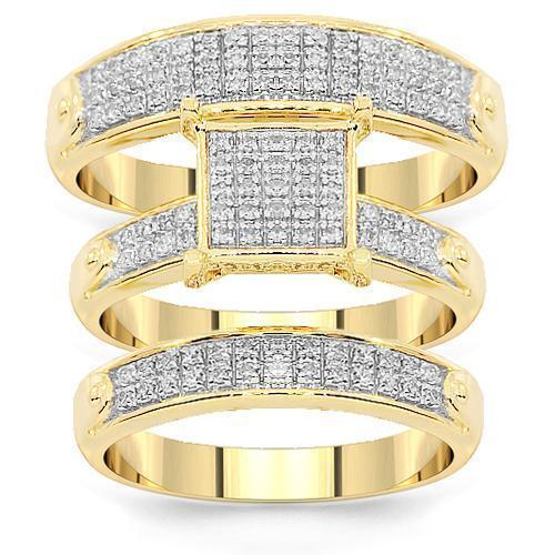 f32ea70f9 Pave Diamond Wedding Ring Set in 10K Yellow Gold 0.37 ctw – Avianne ...