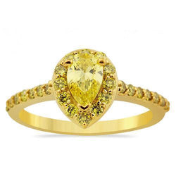 Pear Shaped Yellow Diamond Engagement Ring in 14k Yellow Gold 1.33 Ctw