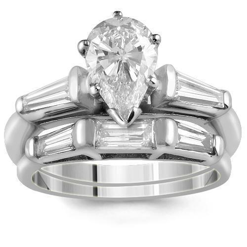 Platinum Diamond Bridal Ring Set with GIA Certified Pear Shape Diamond Stone 1.81 Ctw
