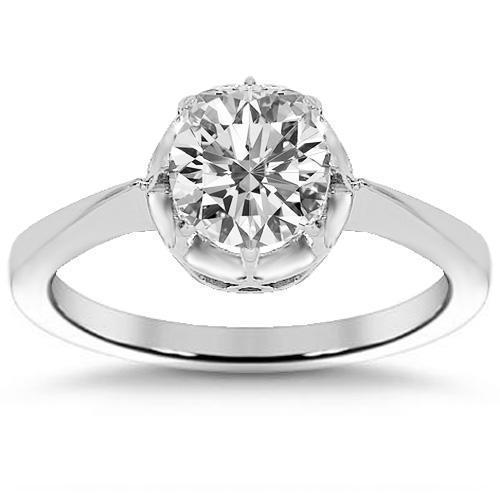 Platinum Diamond Solitaire Engagement Ring 0.92 Ctw
