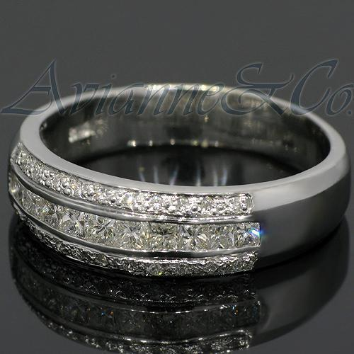Platinum Mens Diamond Wedding Ring Band 0.55 Ctw