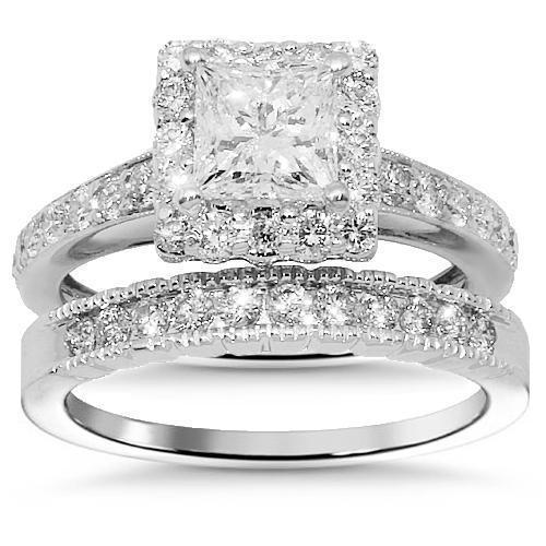 Princess Diamond Bridal Ring Set Clarity Enhanced in 14k White Gold 1.68 Ctw