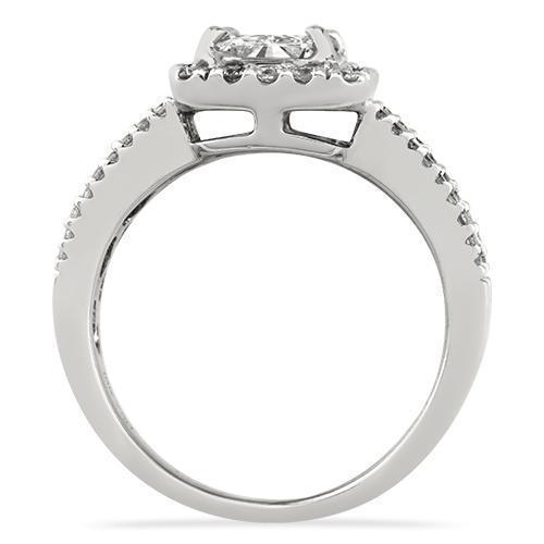 Radiant Cut Diamond Engagement Ring with Side Stones in 18k White Gold 1.82 Ctw