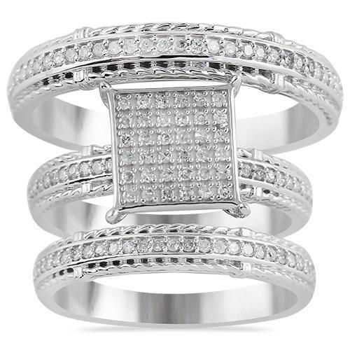 White 10K White Solid Gold Classic Diamond Wedding Band Set 0.45 Ctw