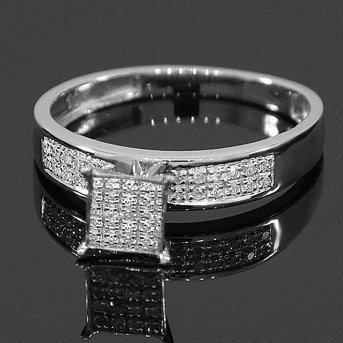 White 10K White Solid Gold Diamond Wedding Band Set 0.55 Ctw