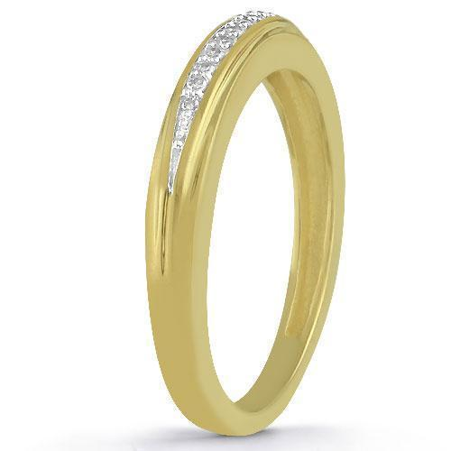 Yellow 10K Yellow Solid Gold Diamond Wedding Ring Band Set 0.40 Ctw
