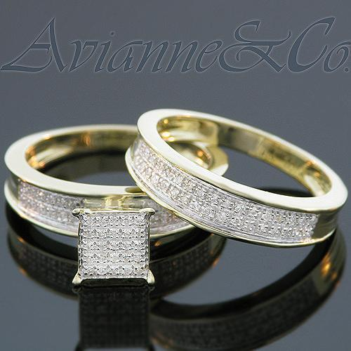 Yellow 10K Yellow Solid Gold Diamond Wedding Ring Band Set 0.45 Ctw