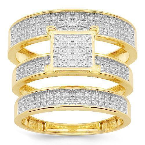Yellow 10K Yellow Solid Gold Diamond Wedding Ring Band Set 0.50 Ctw