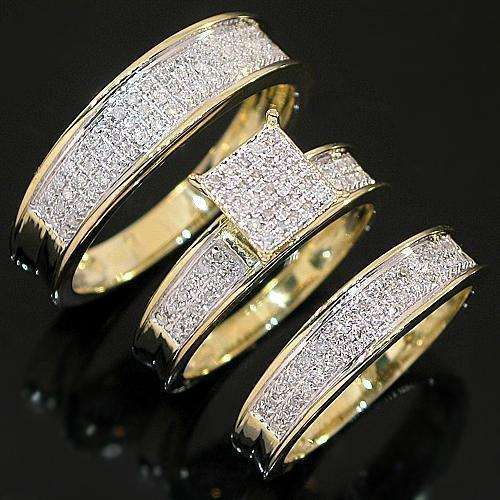 Yellow 10K Yellow Solid Gold Diamond Wedding Ring Band Set 0.60 Ctw