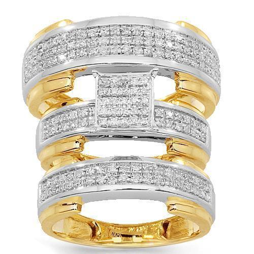 Yellow 10K Yellow Solid Gold Diamond Wedding Ring Band Set 0.64 Ctw