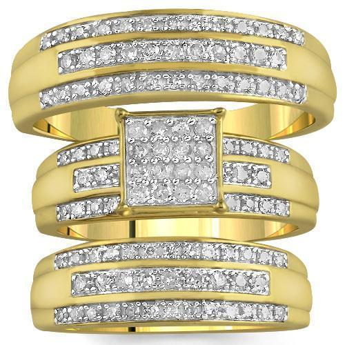 Yellow 10K Yellow Solid Gold Diamond Wedding Ring Band Set 0.82 Ctw