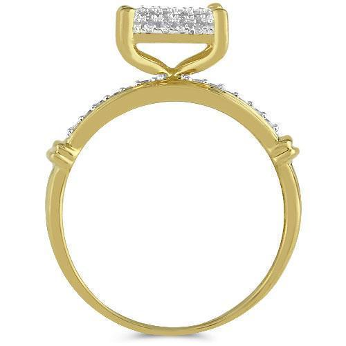 Yellow 10K Yellow Solid Gold Diamond Wedding Ring Band Set 0.84 Ctw