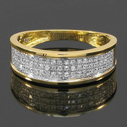 Yellow 10K Yellow Solid Gold Diamond Wedding Ring Band Set 0.96 Ctw
