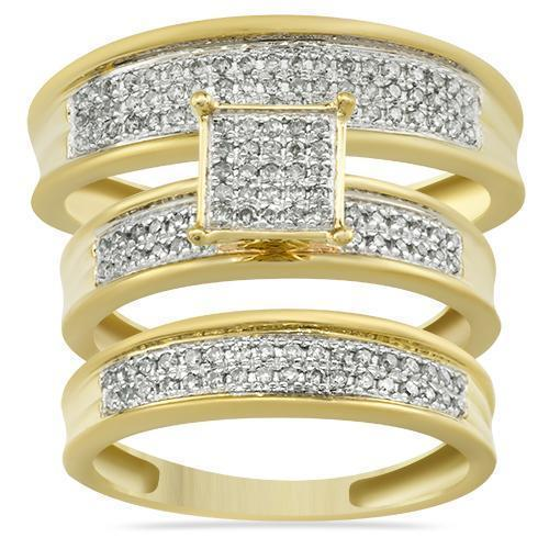 Yellow Diamond Wedding Band Set 10K Yellow Gold 0.47 Ctw