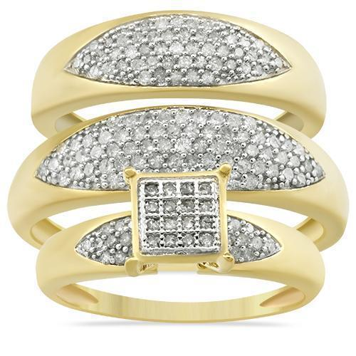 Yellow Diamond Wedding Band Set 10K Yellow Gold 0.84 Ctw