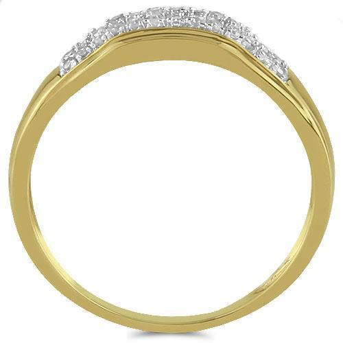 Yellow Pave Diamond Wedding Ring Band Set 0.51 Ctw in 10K Yellow Gold