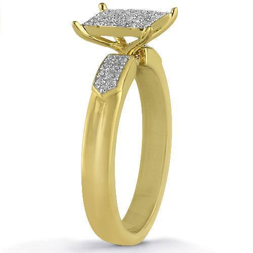 Yellow Pave Diamond Wedding Ring Set in 10K Yellow Solid Gold 0.43Ctw