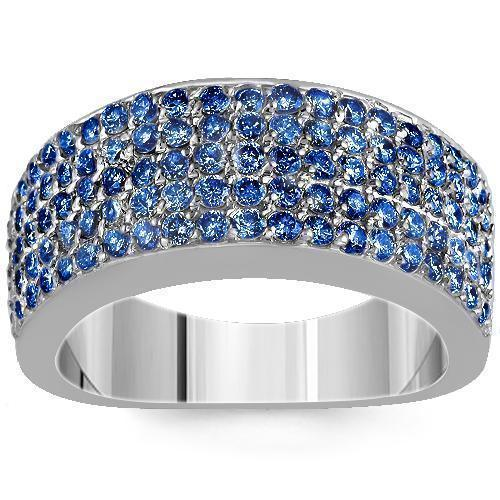 Sterling Silver Mens Blue Diamond Wedding Ring Band 2 68 Ctw Avianne Jewelers