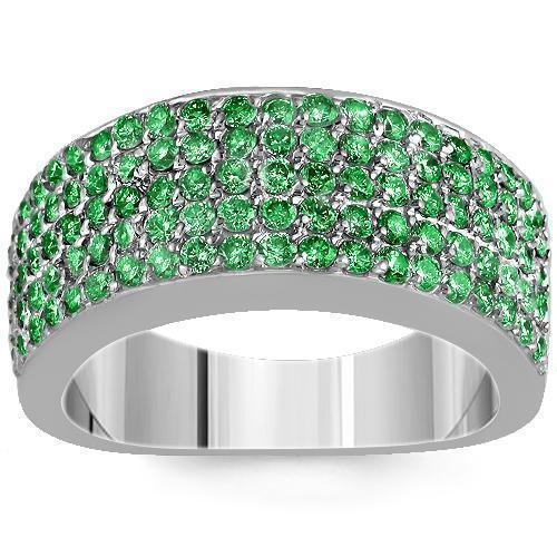 Sterling Silver Mens Green Diamond Wedding Ring Band 2.68 Ctw
