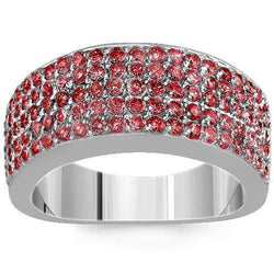 Sterling Silver Mens Red Diamond Wedding Ring Band 2.68 Ctw