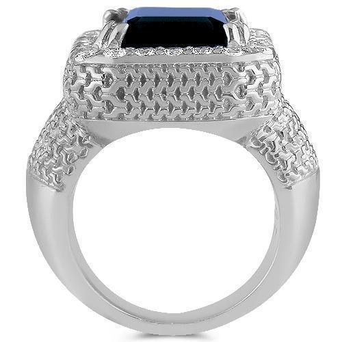 Sterling Silver Rhodium Plated Semi-Precious Crystal Sapphire Ring