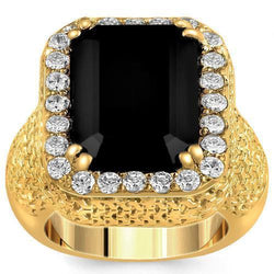 Sterling Silver Yellow Gold Plated Semi-Precious Crystal Black Onyx Ring