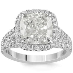 Stunning 18K White Solid Gold Diamond Engagement Ring 4.42 Ctw