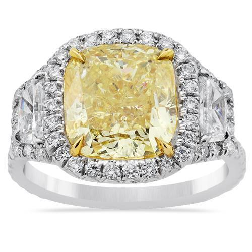 Three Stone Fancy Yellow Diamond Ring in Platinum and 18k White Gold 6.51 Ctw